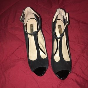 INC ~ Black Suede Peep Toe Heels